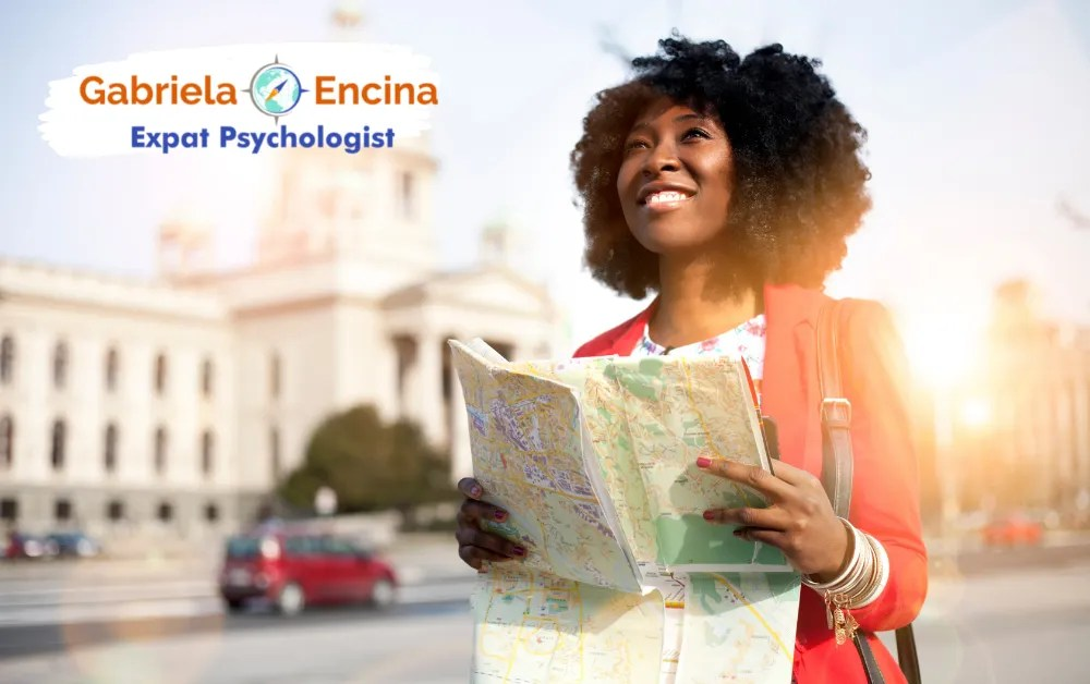 Counseling with an Expat Psychologist - Expat Woman exploring her new city with map in her hands