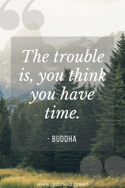 """Buddha Quotes """"The trouble is, you think you have time."""" - www.gabriela.green (1)"""
