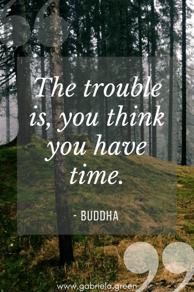 """Buddha Quotes """"The trouble is, you think you have time."""" - www.gabriela.green"""