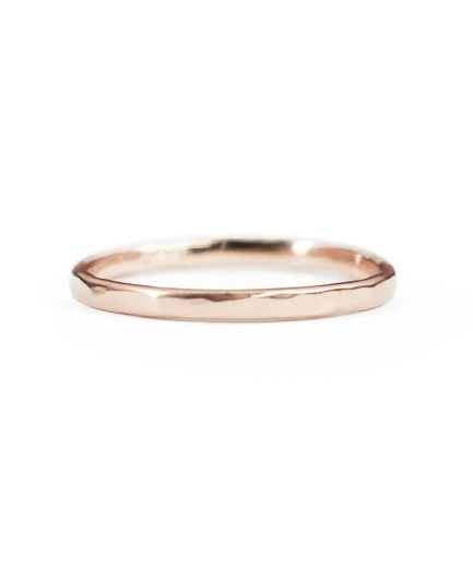 rose gold thin hammered wedding band