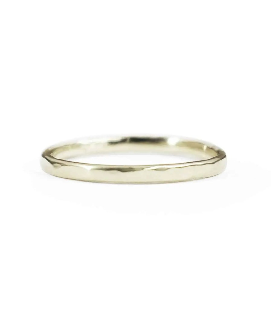 white gold thin hammered wedding band
