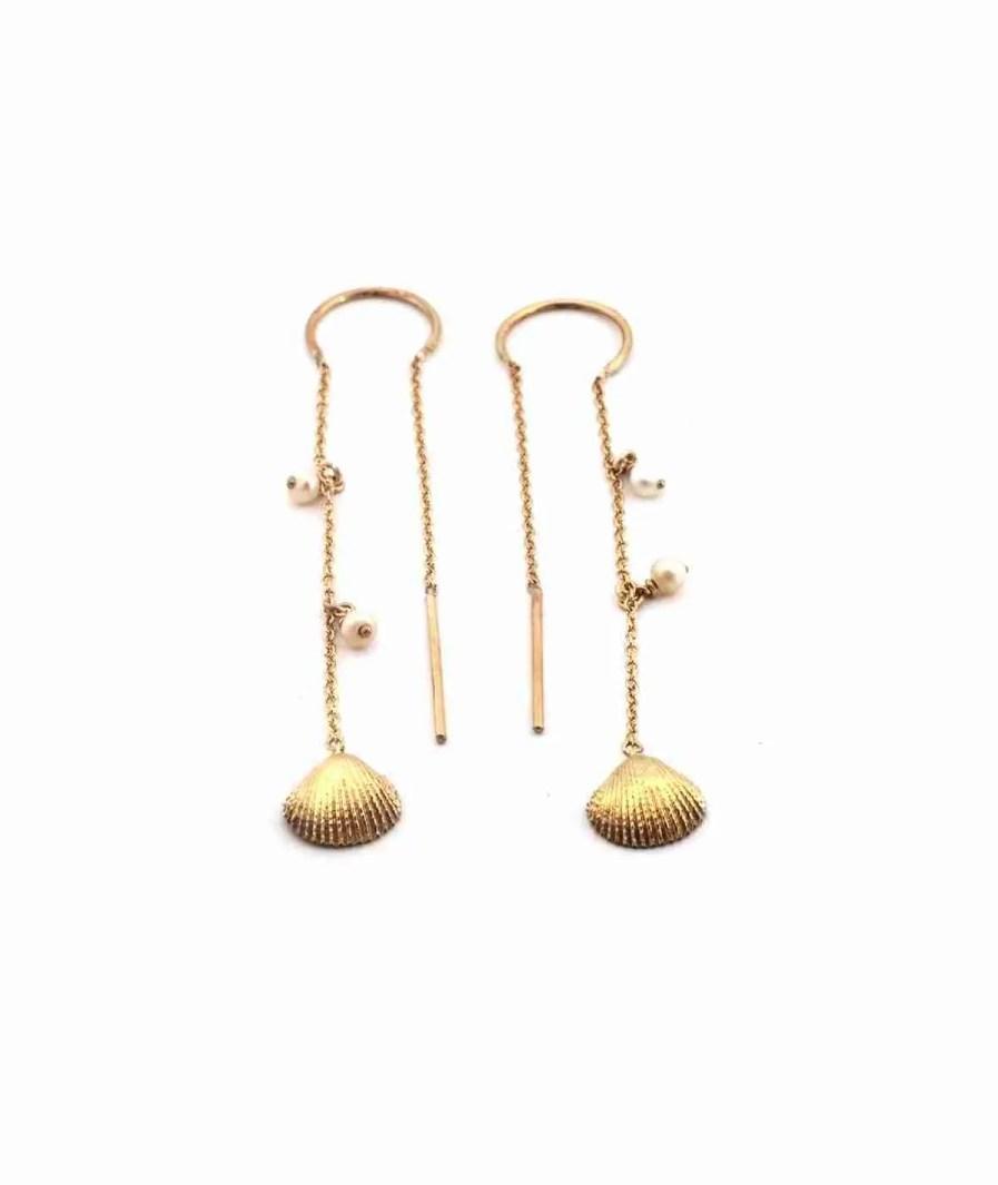 gold seashell threader earrings