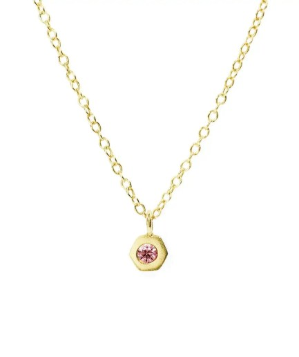 bezel set pink tourmaline necklace