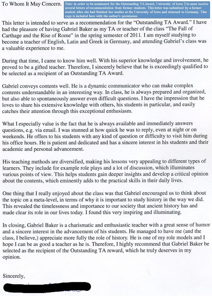 Sample recommendation letter for teacher award docoments ojazlink letter of recommendation for a teaching award sample cover spiritdancerdesigns Images