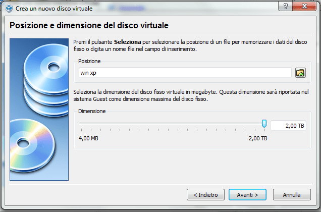 installare windows xp su virtual box (5/6)