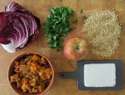 Salat aus Butternut-Kuerbis Schafskaese und Buchweizen