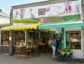 Düsseldorf Markt Carlsplatz Bio-Stand und Kräuterhexe