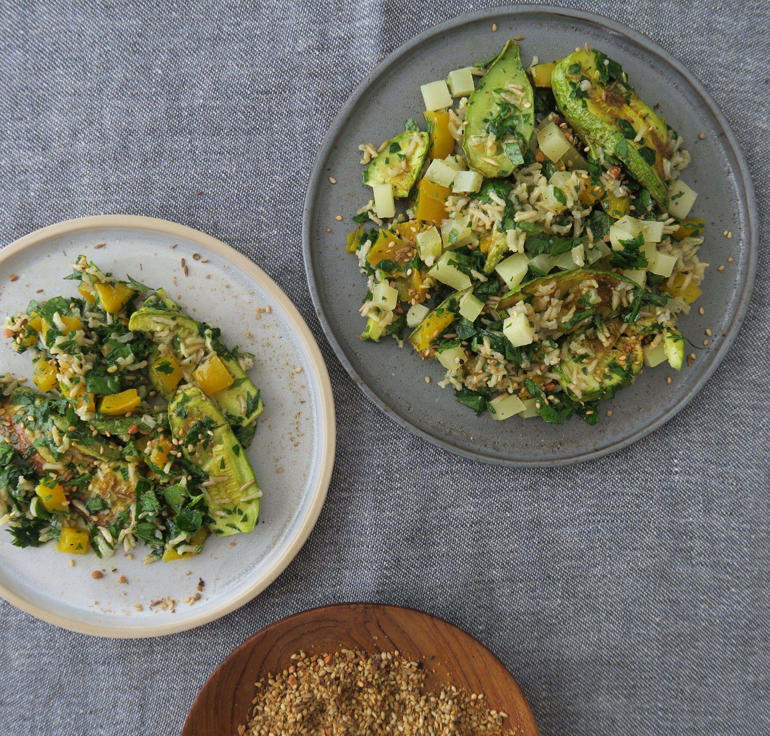 Zucchini-Reis-Salat orientalisch