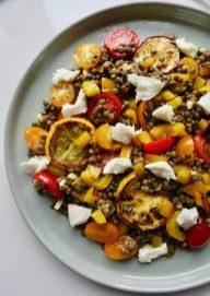Sommer-Linsensalat Grillgemüse Mozzarella