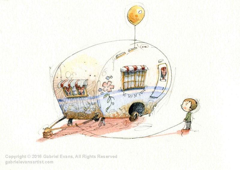 Air Balloon - Watercolour & Ink