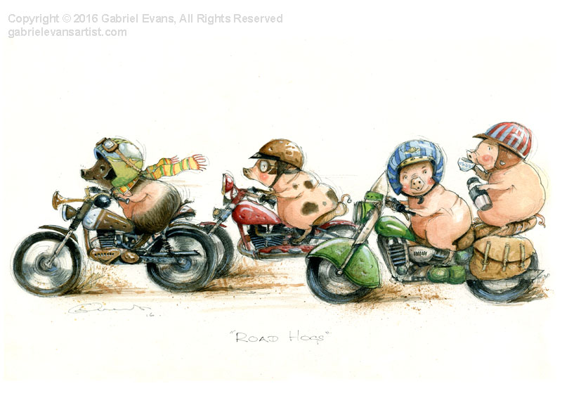 Road Hogs - Watercolour & Ink