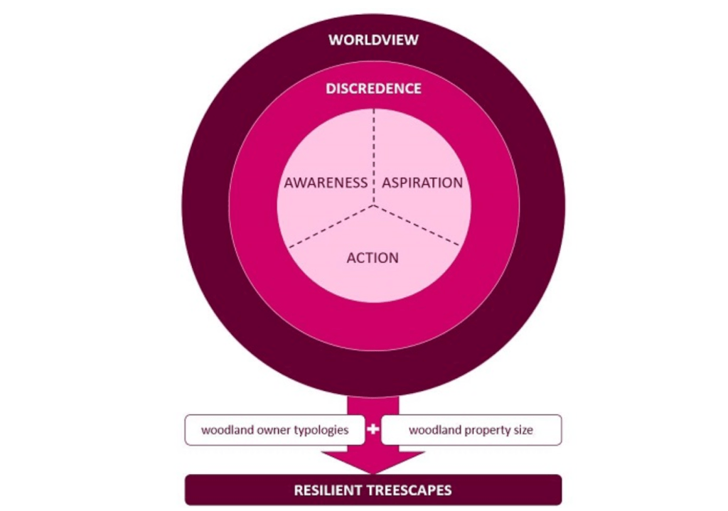 Conceptual framework to show the influence of ecological worldview and discredence on awareness, aspiration and action among woodland managers for adaptation measures