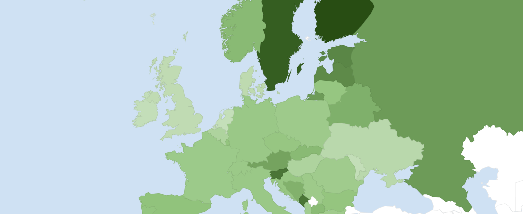 Forest cover in Europe in 2020