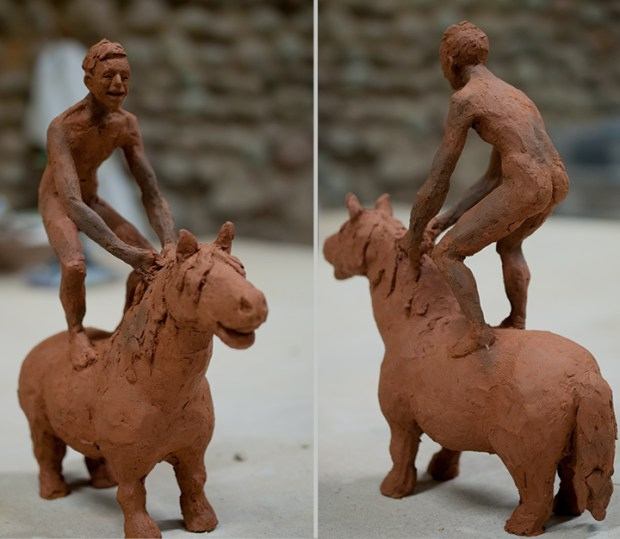 nude man on pony sculpture
