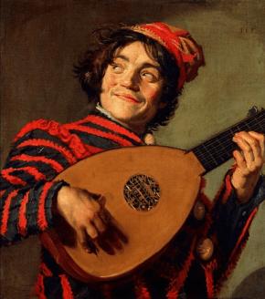 Frans Hals, Buffone con liuto - 1623