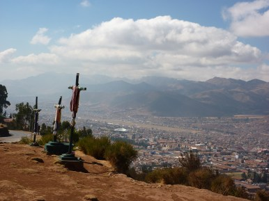 Crosses next to Cristo Blanco