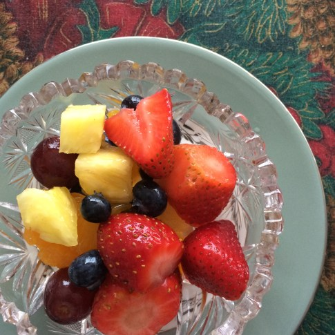 Fruit salad in my Grama's special fruit salad bowls. This set of dishes was gifted to her mother by Eaton when she went on maternity leave and has made appearances at all of our family meals that I can remember.