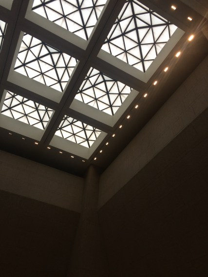 This is the ceiling in the atrium that connects the old side of the building with the new side. I love the simplistic geometric pattern of the windows. It was about four or six stories high.