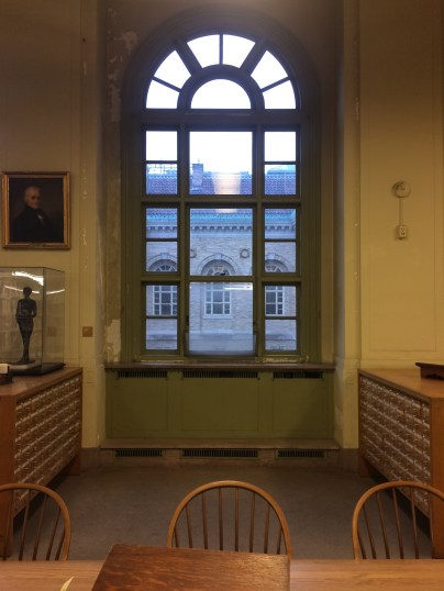 Still in that very quiet room with all the dressers filled with cards. This window looks out onto that courtyard we had previously visited.