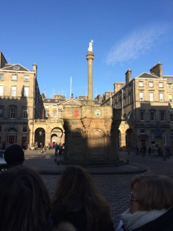 Mercat Cross on the Royal Mile. This is where they delivered important news to the town.