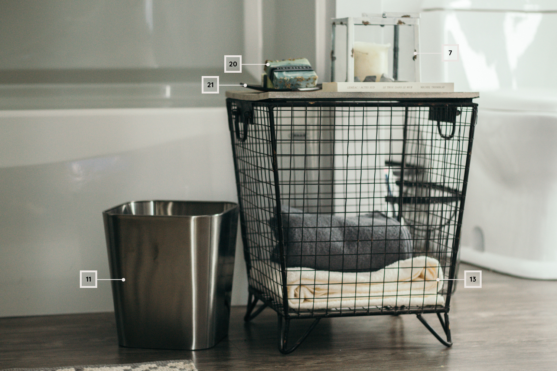 petite salle de bain - décoration - poubelle - panier - chandelle