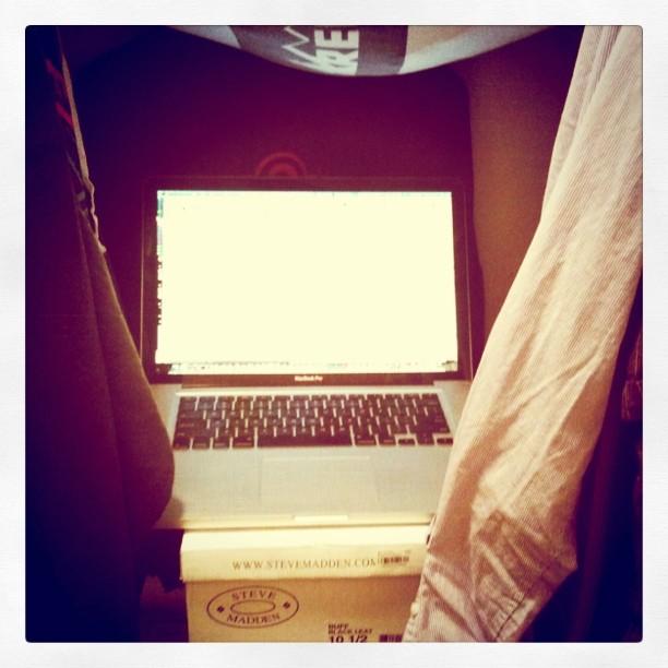Makeshift closet recording studio