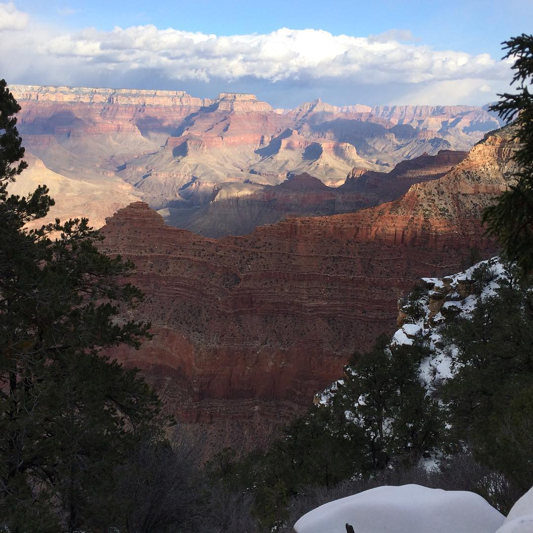 South rim of the Grand Canyon. It's snowing.