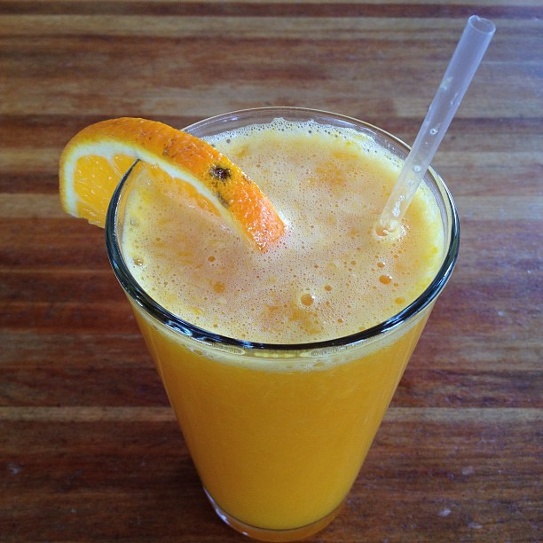 Why yes, that is fresh squeezed orange juice :)