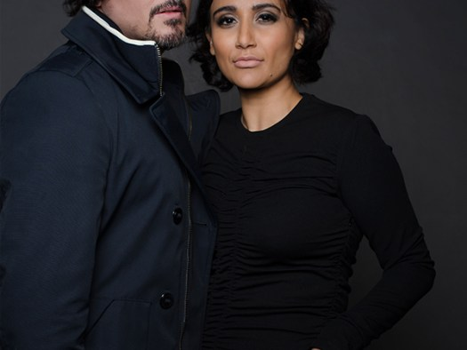 Fashion Portrait of a man and woman on a black background