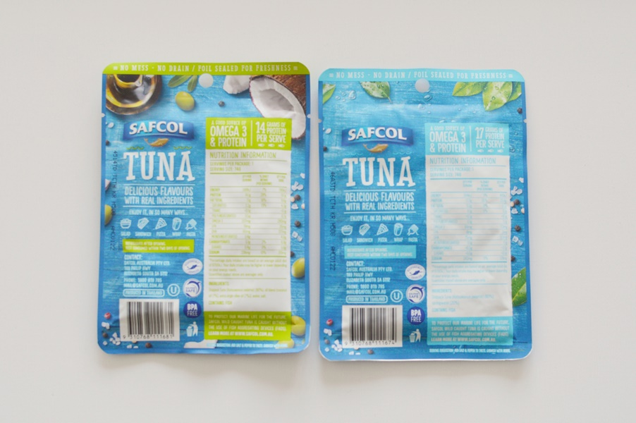 Safcol tuna pouches nutrition