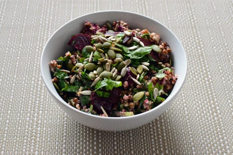 quinoa lentil & beetroot vegan bowls