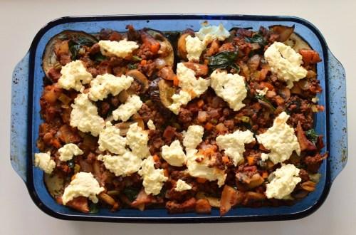 eggplant, beef & mushroom casserole