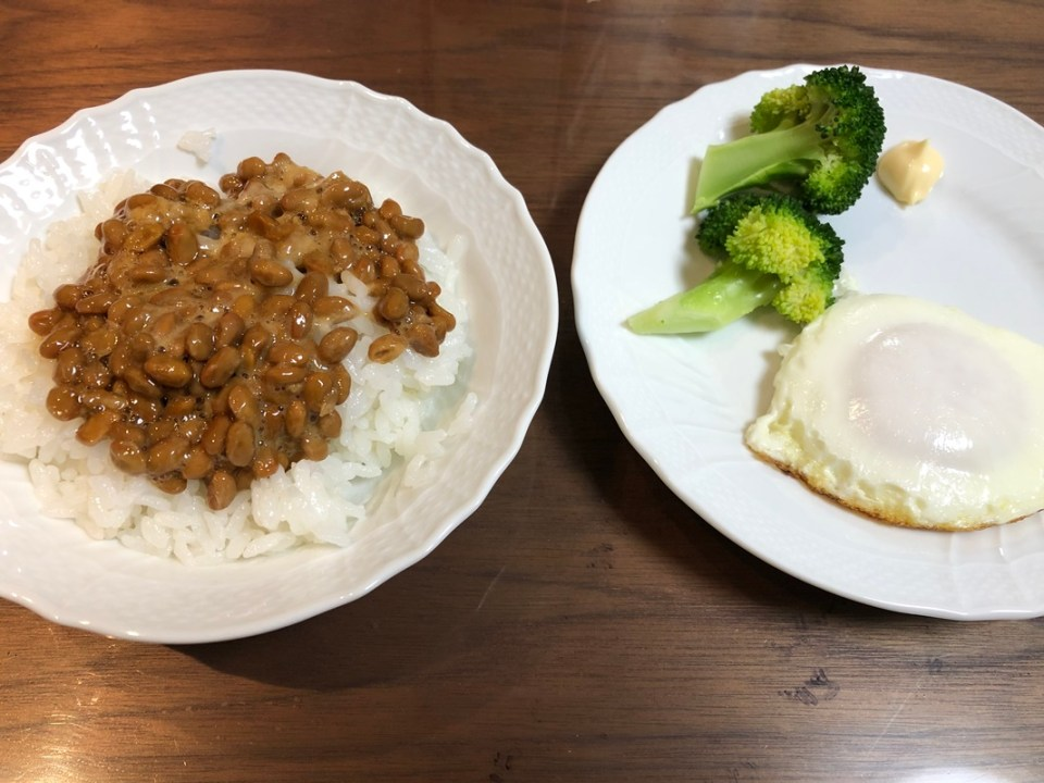 Natto, egg and vegetables