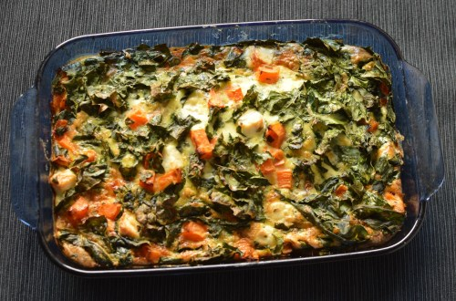 Sweet potato frittata with kale and feta