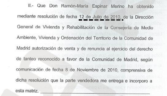 Espinar logró la autorización de la Comunidad de Madrid para vender la casa a un tercero el 12 de julio de 2010. / CADENA SER