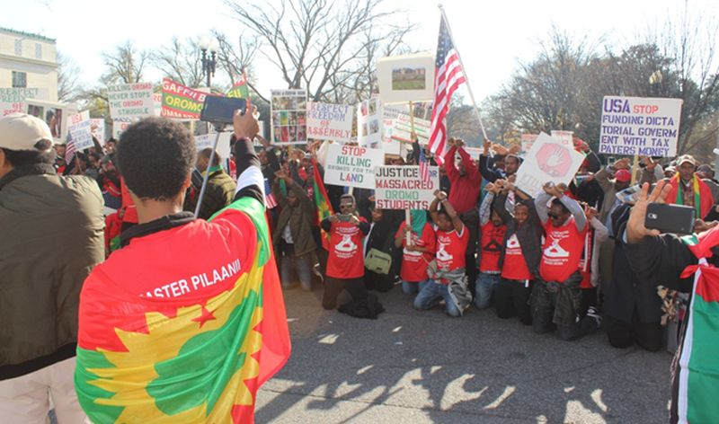 Oromo diaspora rally at the White House and US State Department demanding the US to cut aid to Ethiopia. [Photo by Habtamu Dugo]
