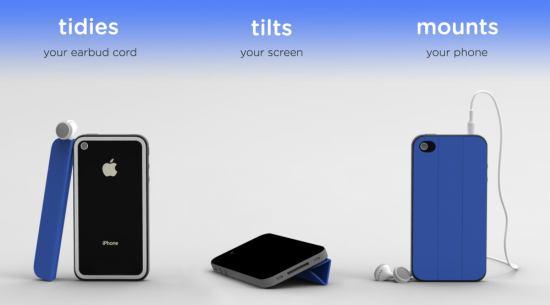 ipadのスマートカバーのようなiPhone用グッズ「TidyTilt」
