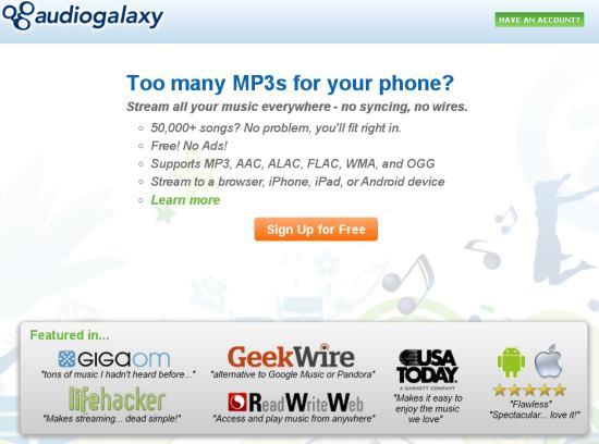 PCをクラウド化「audiogalaxy」!全ての音楽をあらゆるデバイスで再生