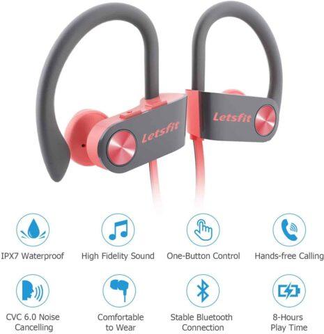 Letsfit Sports Bluetooth Headphones Earphones