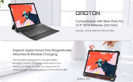 OMOTON  for iPad Pro 12.9 2018 Keyboard Case