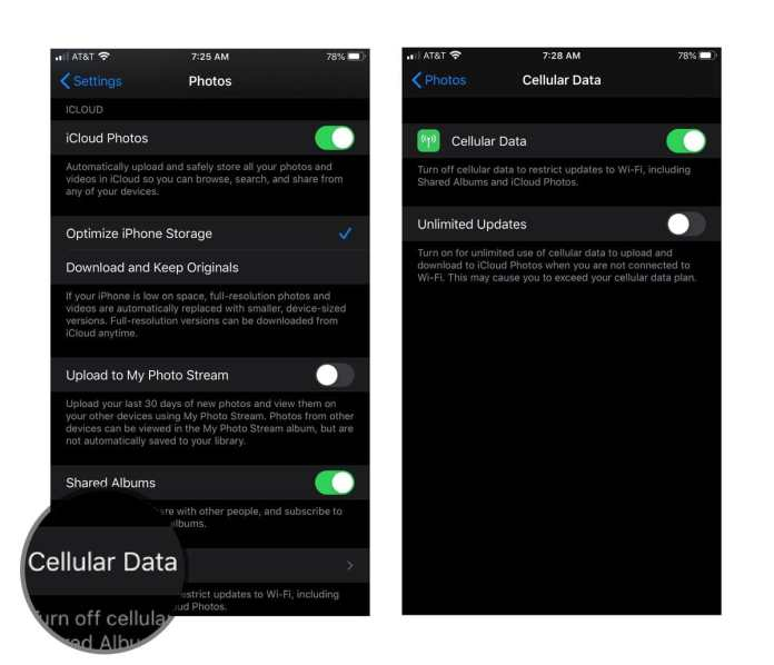 adjust cellular settings for iCloud Photos on your iPhone or iPad