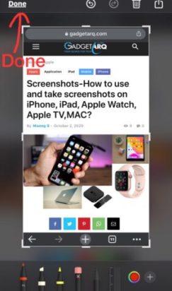 instant markup to edit screenshot