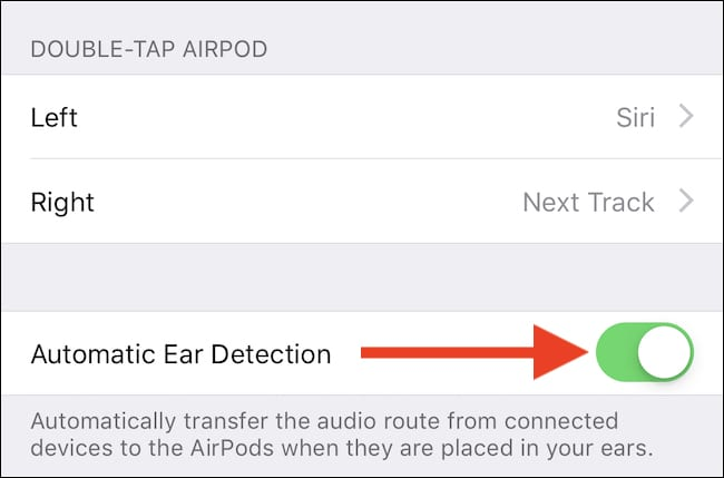 Toggle Ear detection