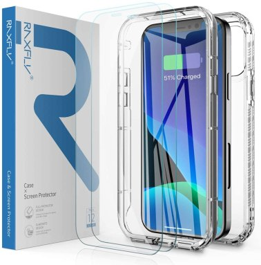 RAXFLY Compatible with iPhone 12 Pro Max Clear Case with 2 Pack Screen Protector