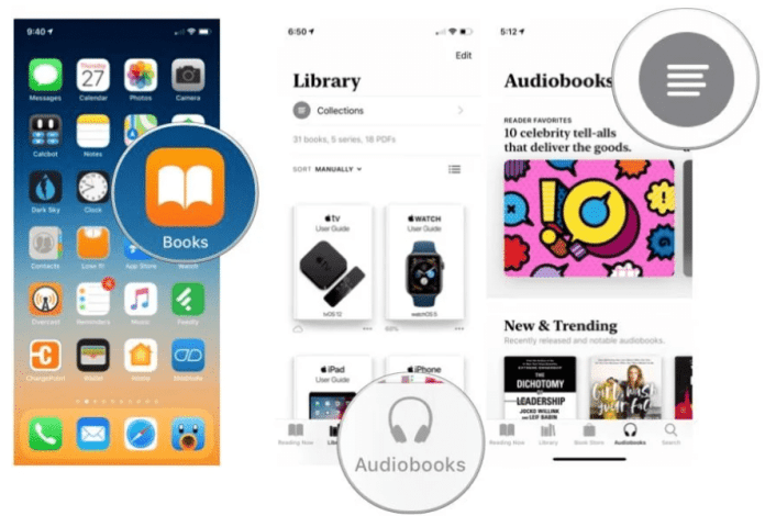 browse and search for an audiobook in Apple Books