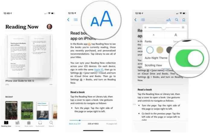 enable Auto-Night Theme - customize Apple Books