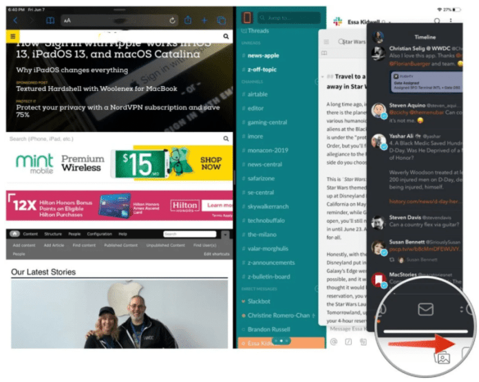 rotate through app tabs in Slive Over view