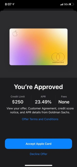 credit score for Apple card