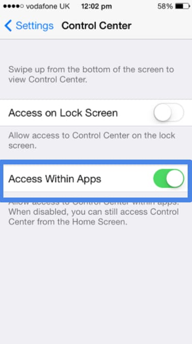 Control Center on iPhone and iPad