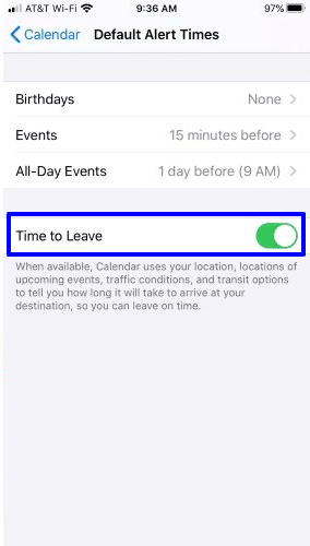 Set a reminder to leave on time in calendar